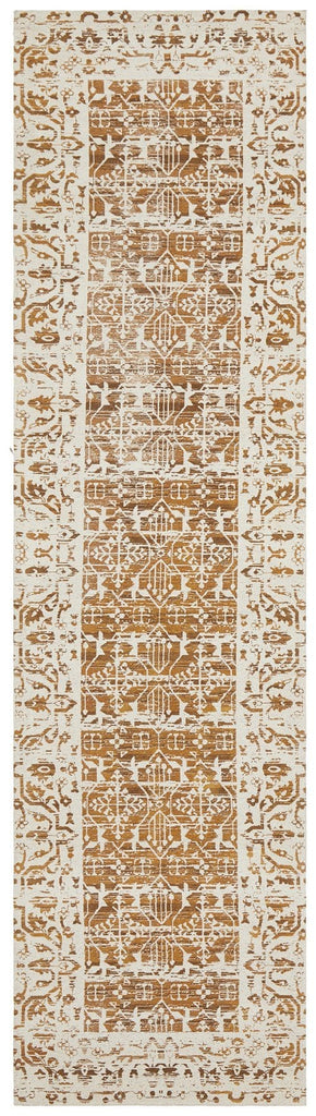 Alaca Mustard Yellow Transitional Runner Rug