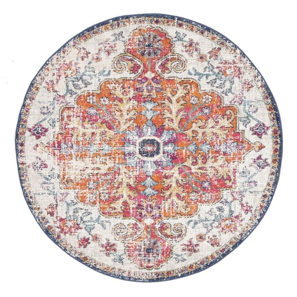 Alcati Multi-Colour Distressed Transitional Round Rug