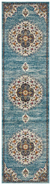 Alegria Blue Traditional Medallion Runner Rug