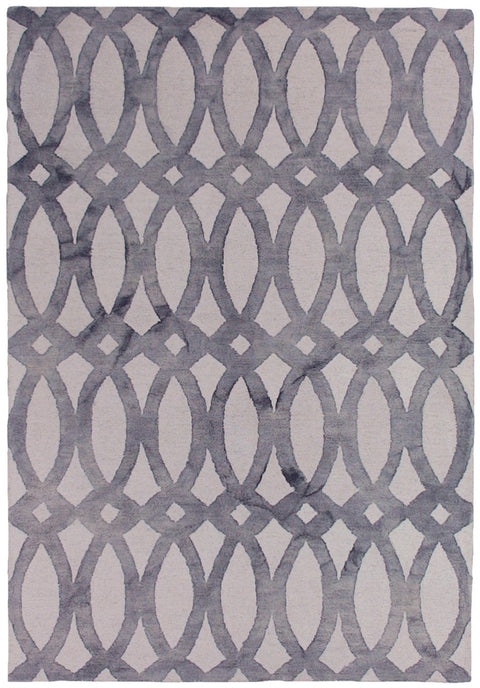 Alfena Warm Grey Abstract Wool Rug