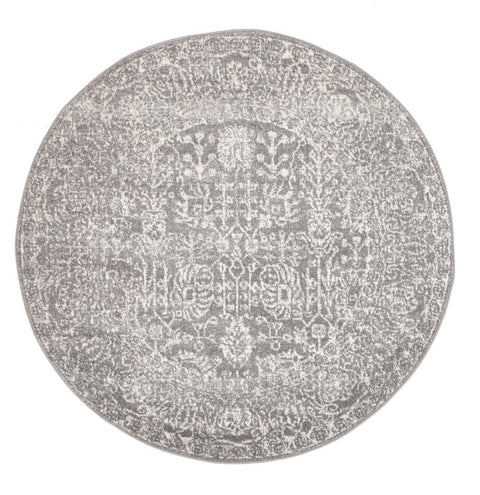 Almeria Soft Grey & White Persian Round Rug