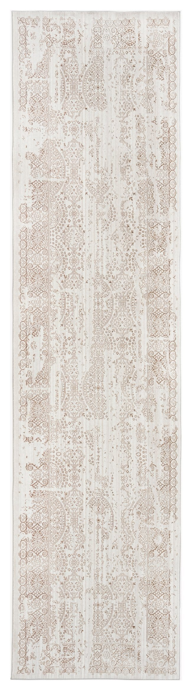 Amelia Cream Brown and Silver Traditional Floral Runner Rug