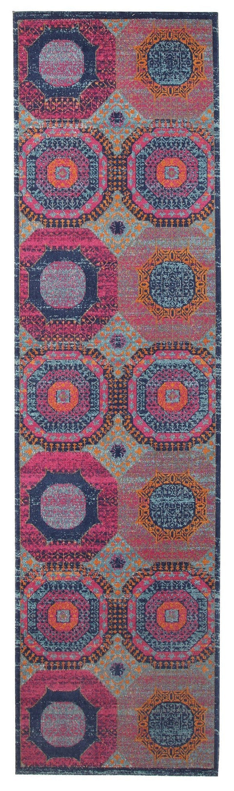 Amman Pink & Blue Distressed Runner Rug