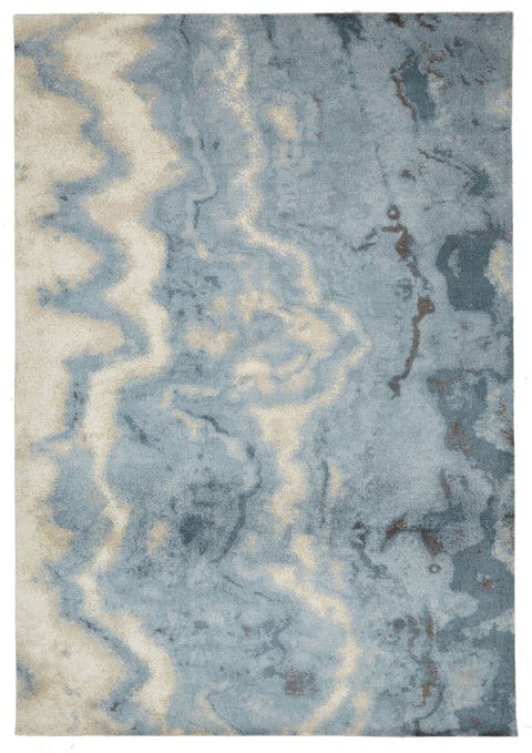 Amqui Blue & White Handcrafter Abstract Rug