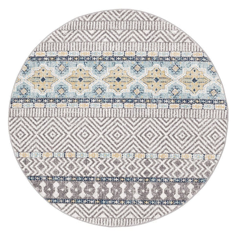 Anarita Blue & Yellow Tribal and Medallion Pattern Round Rug