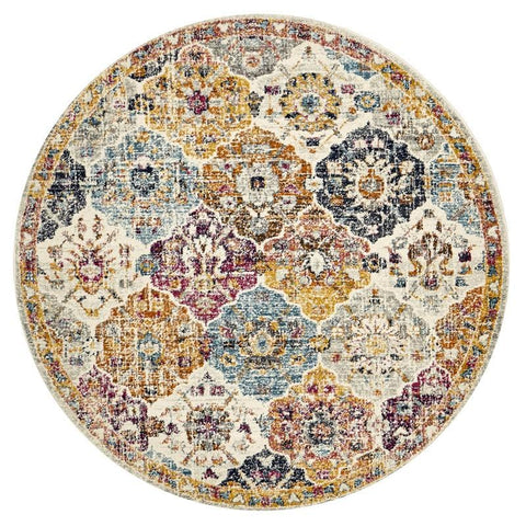 Andalusia Multi Colour Floral Medallion Round Rug