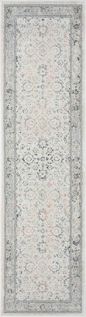 Anine Cream and Grey Multi-Colour Traditional Floral Runner Rug