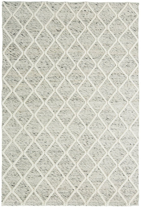 Anja Grey and Ivory Lattice Wool Rug (Pre-Order)