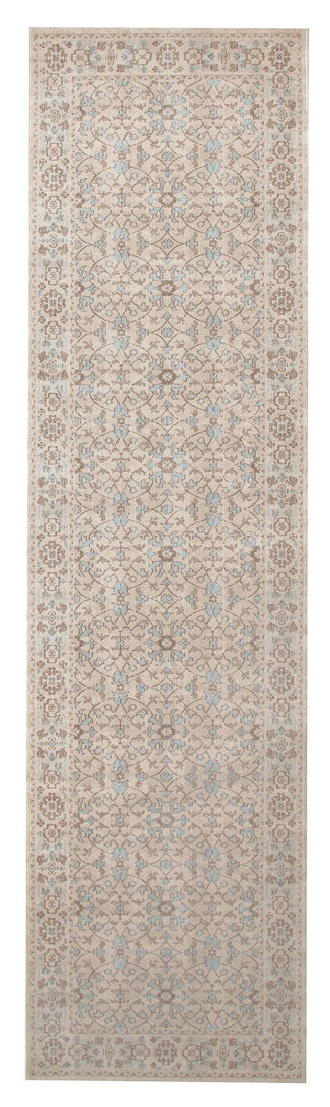 Anjara Bone & Blue Floral Stonewashed Runner Rug