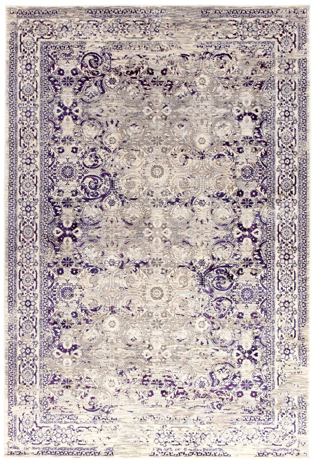 Ankara Purple Distressed Traditional Print Rug