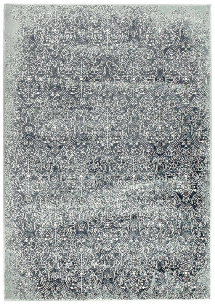 Anshan Blue Amp Navy Floral Motif Transitional Rug