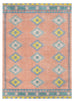 Ariel Peach and Blue Multi-Colour Diamond Tribal Rug