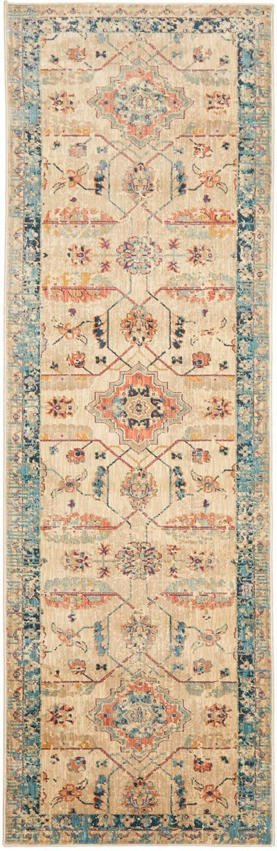 Arish Ivory and Blue Traditional Distressed Medallion Runner Rug