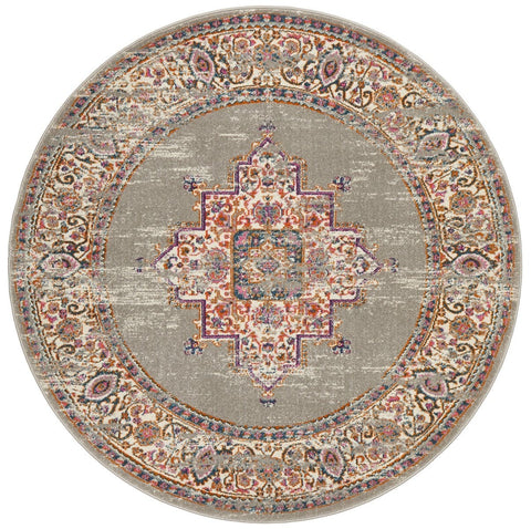 Arles Grey Round Traditional Medallion Rug