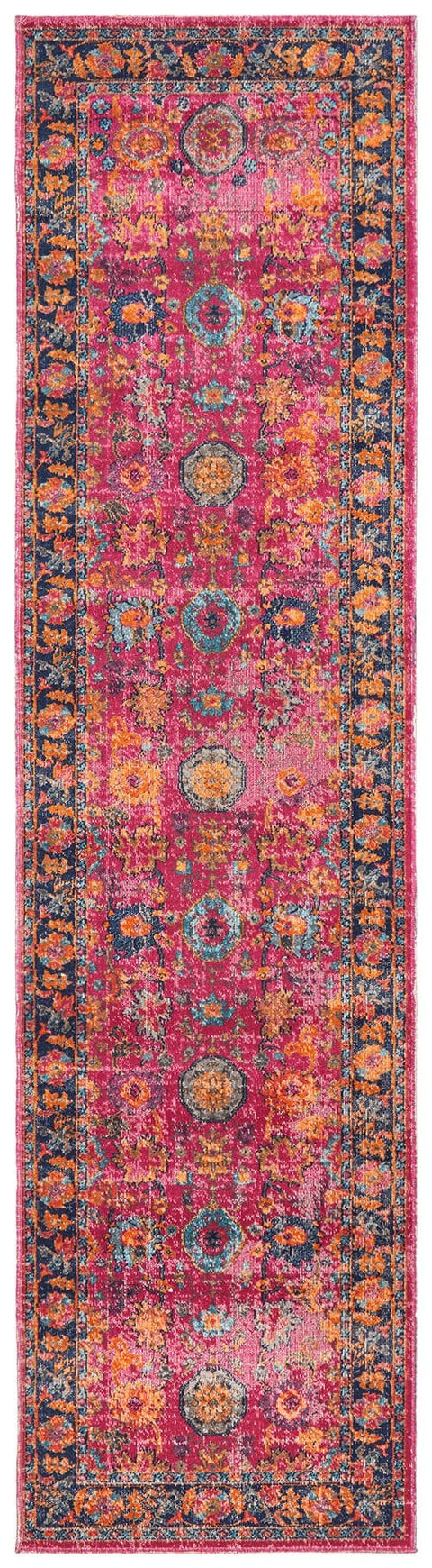Armant Pink Distressed Transitional Runner Rug