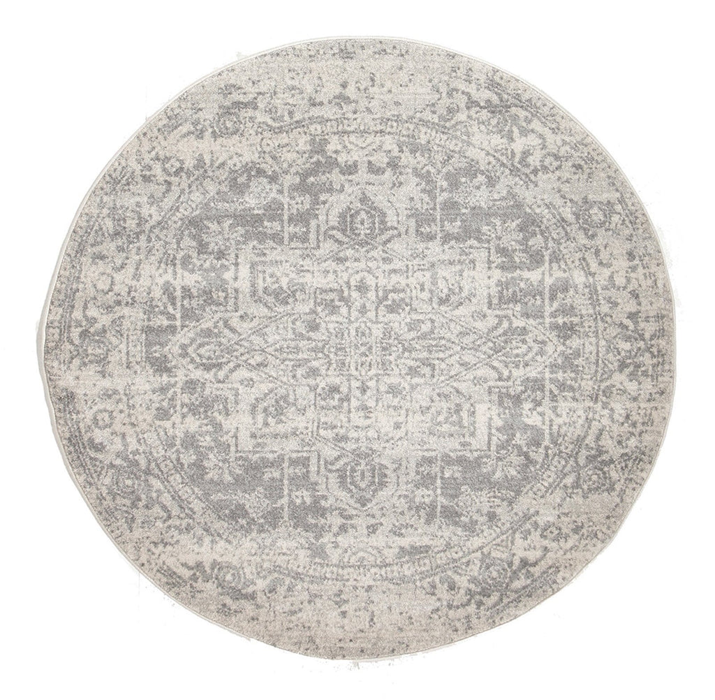 Arsuk Ivory & Grey Distressed Round Rug
