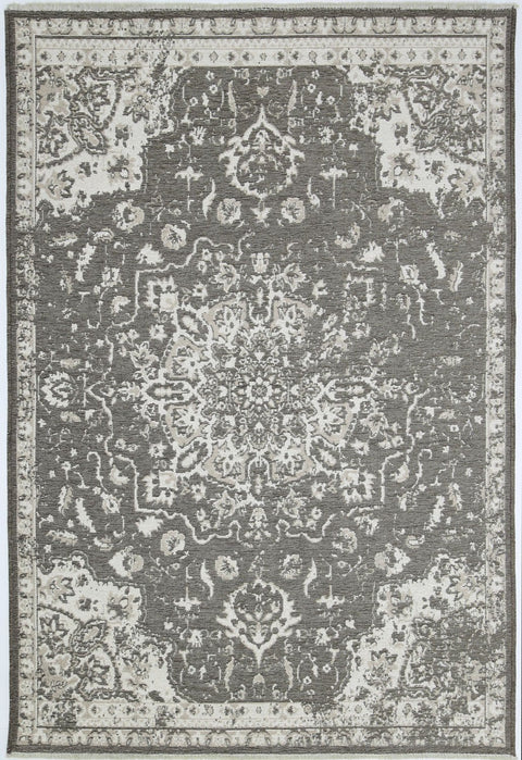 Arvada Beige and Grey Transitional Medallion Reversible Rug