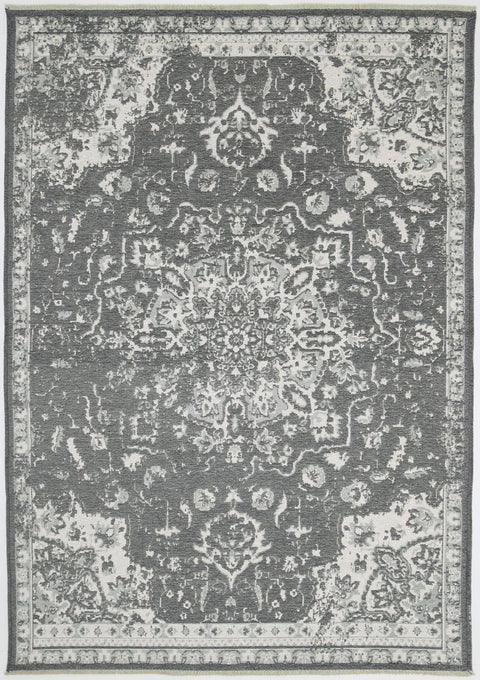Asheville Ivory and Grey Transitional Medallion Reversible Rug