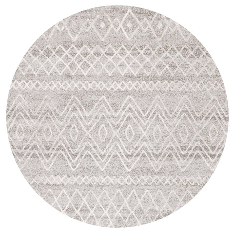 Asmara Grey & White Tribal Pattern Round Rug