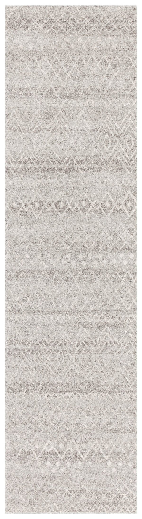 Asmara Grey & White Tribal Pattern Runner Rug