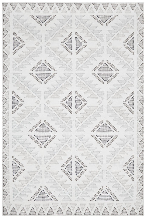 Aspen Tribal Stitch Grey and Blue Flatweave Rug