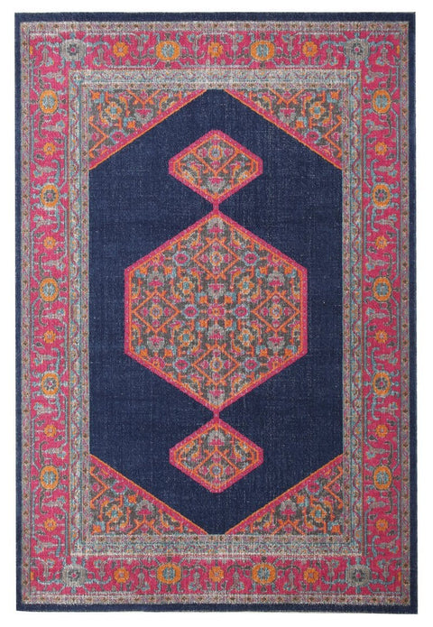 Astana Navy Floral Medallion Transitional Rug