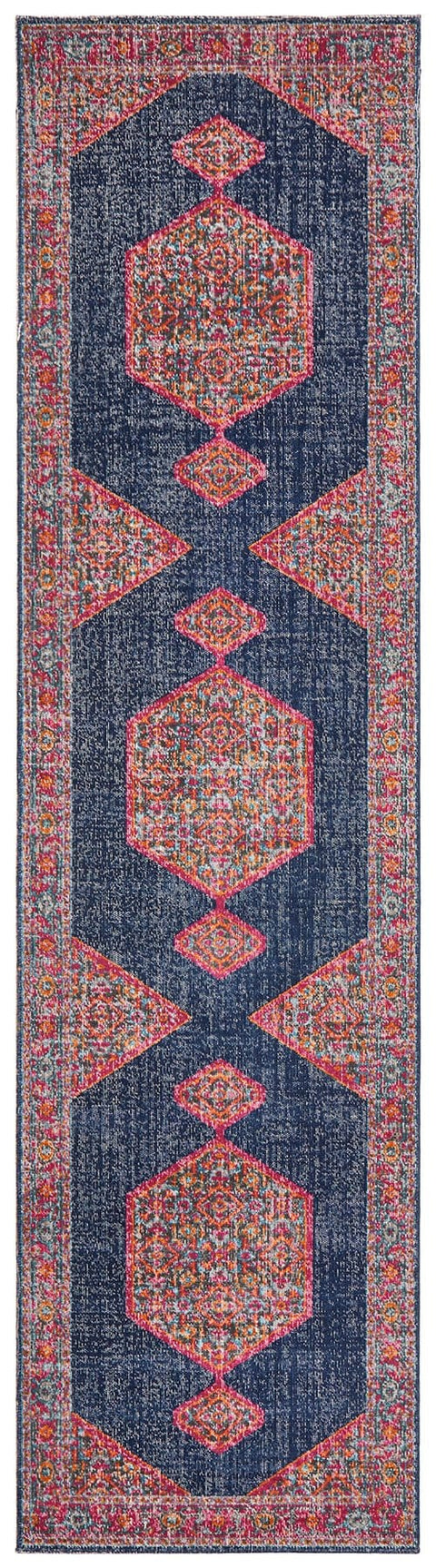 Astana Navy Floral Medallion Transitional Runner Rug