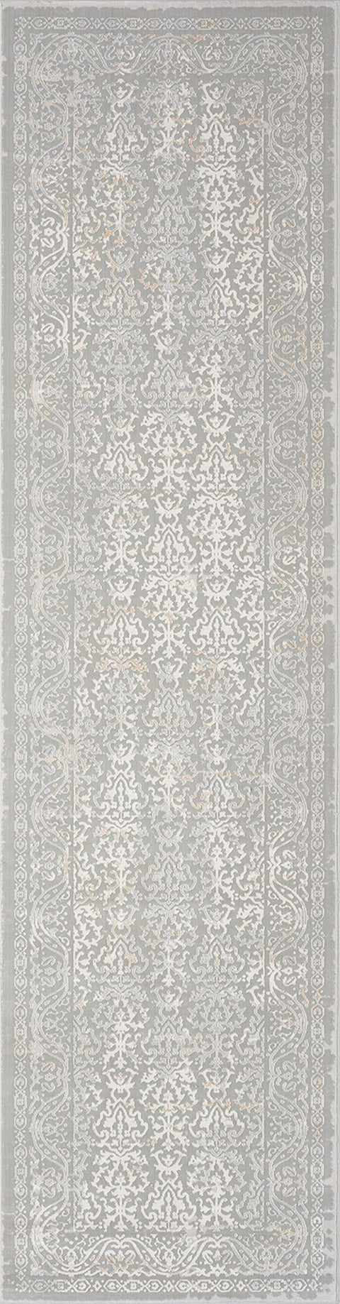 Aylin Cream Ivory and Grey Traditional Floral Runner Rug
