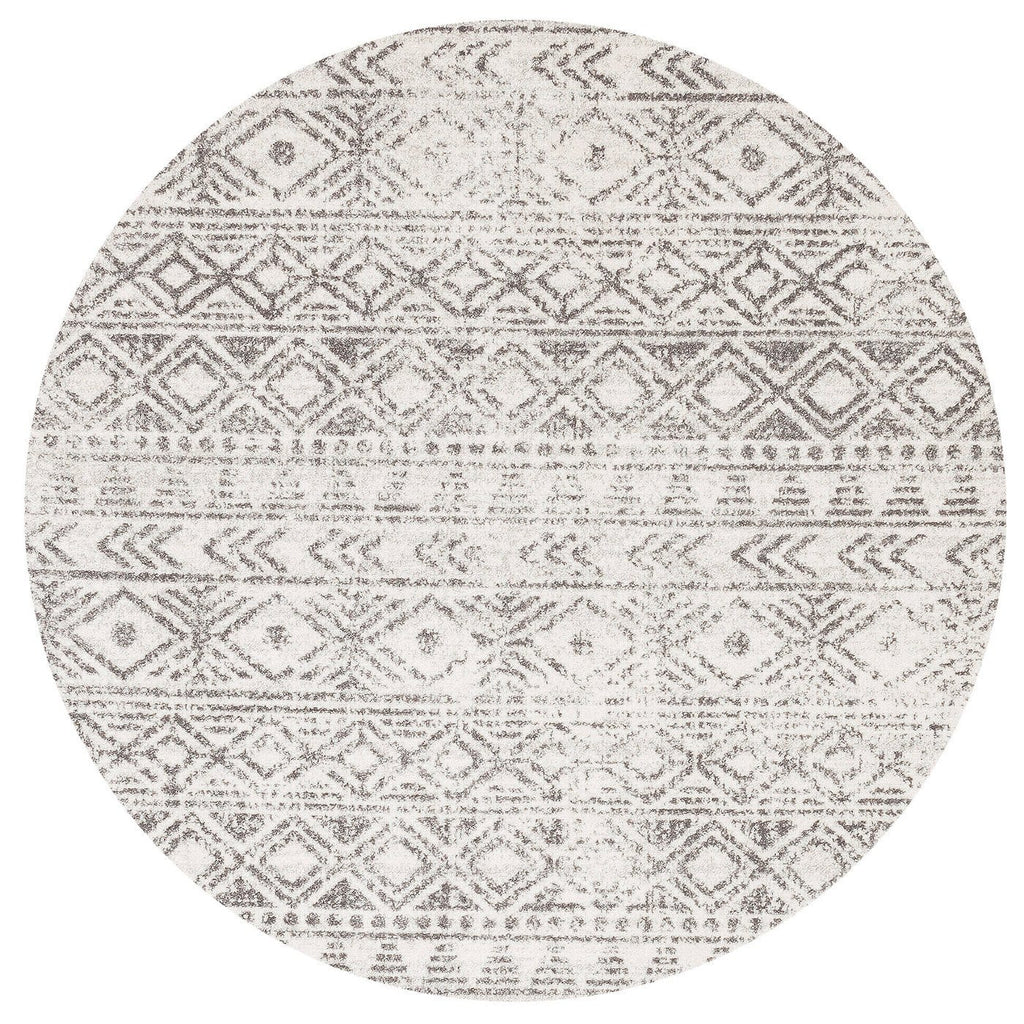 Azusa Light Grey & Ivory Tribal Pattern Round Rug