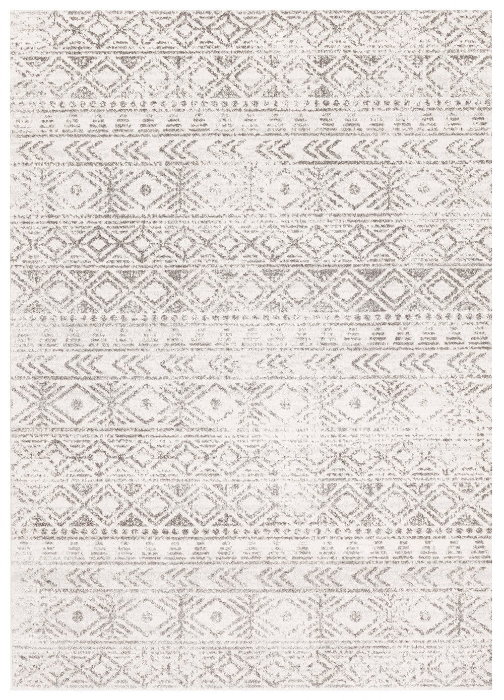 Azusa Light Grey & Ivory Tribal Pattern Rug