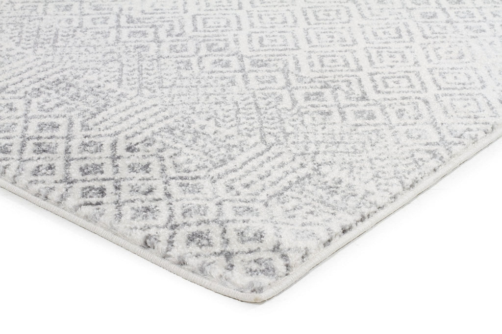 Grey And White Carpet Runner: Nile Grey Diamond Ivory Runner Rug