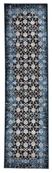 Milas Dark Blue Faded Floral Motif Runner Rug