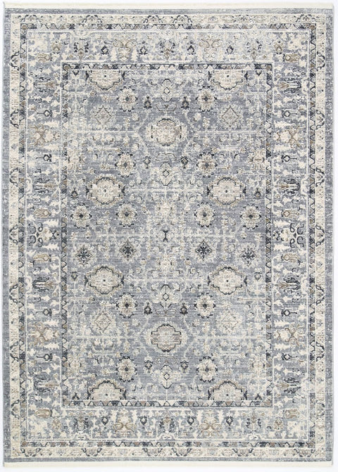 Bahia Traditional Pattern Navy and Grey Rug