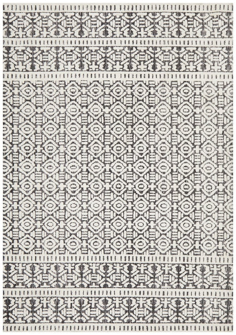 Barkot Charcoal and White Transitional Rug