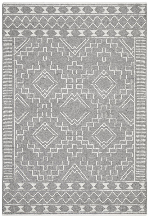 Basalt Charcoal Grey and Ivory Tribal Stitch Flatweave Rug