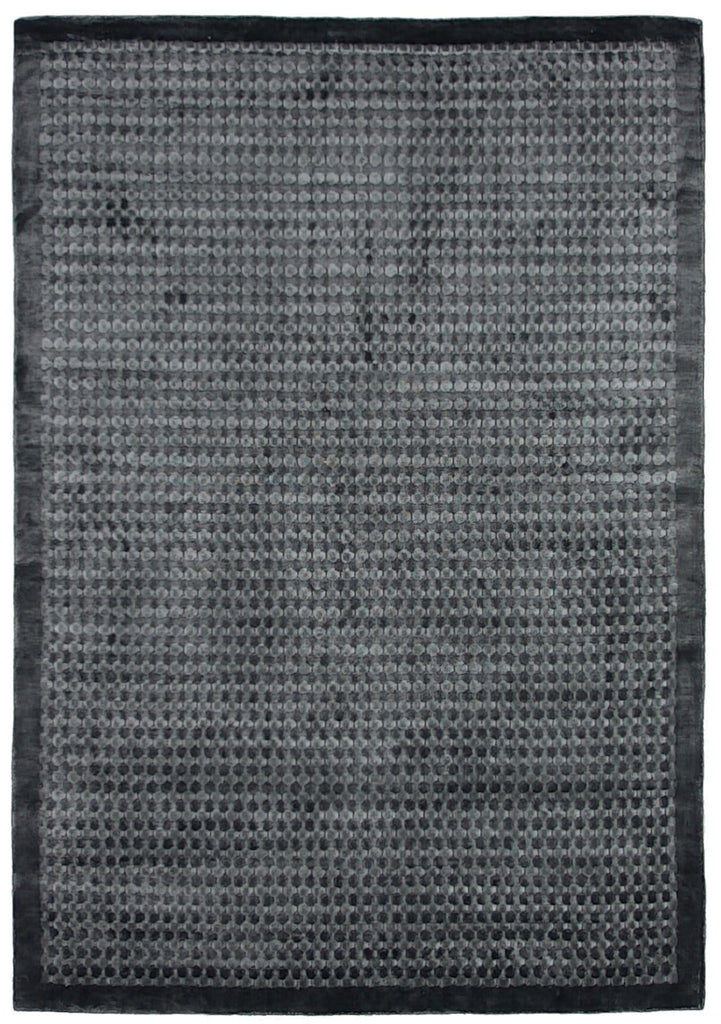 Basel Charcoal Dot Bordered Rug