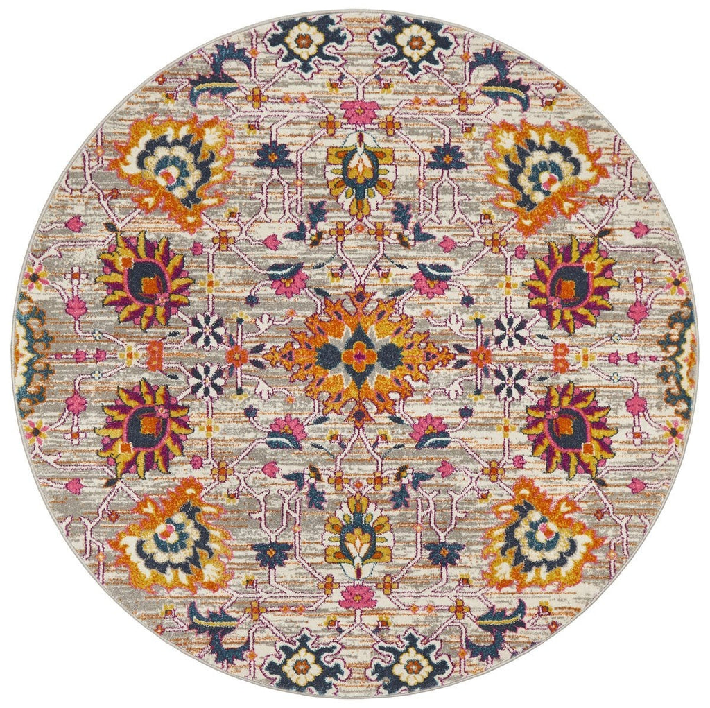 Bastia Grey Round Traditional Floral Rug