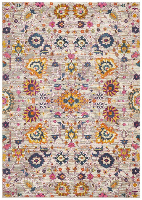 Bastia Grey Traditional Floral Rug