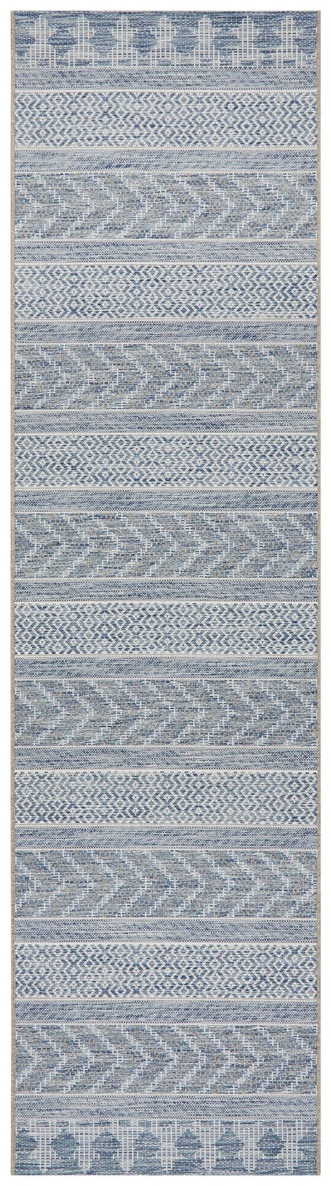 Bayamo Blue Tribal Runner Rug