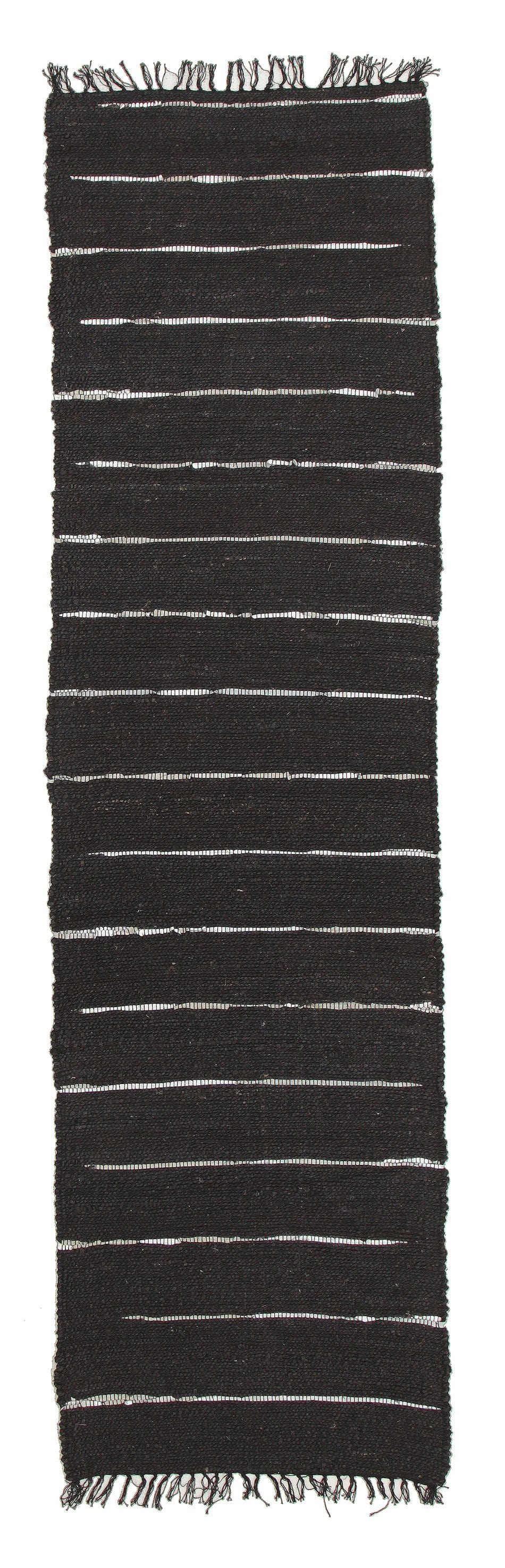 Nubra Black Jute & Metallic Leather Runner Rug
