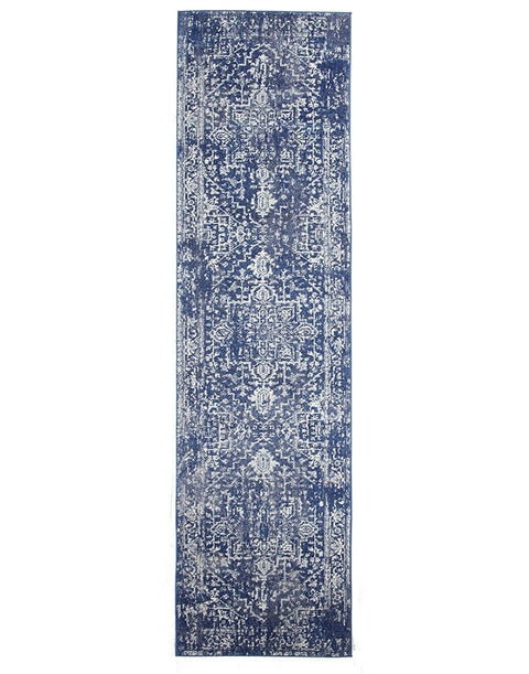 Chania Navy Blue Distressed Runner Rug