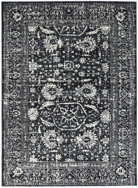 Biloxi Ivory Black and Navy Floral Transitional Rug