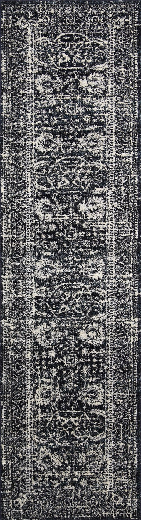 Biloxi Ivory Black and Navy Floral Transitional Runner Rug