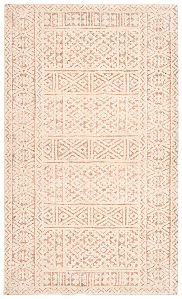 Bobbie Peach and Ivory Textured Tribal Rug
