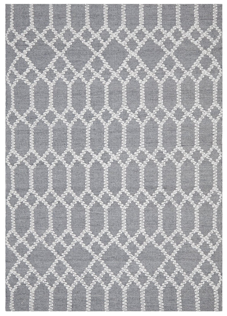 Breckenridge Dark Blue and Ivory Geometric Pattern Rug