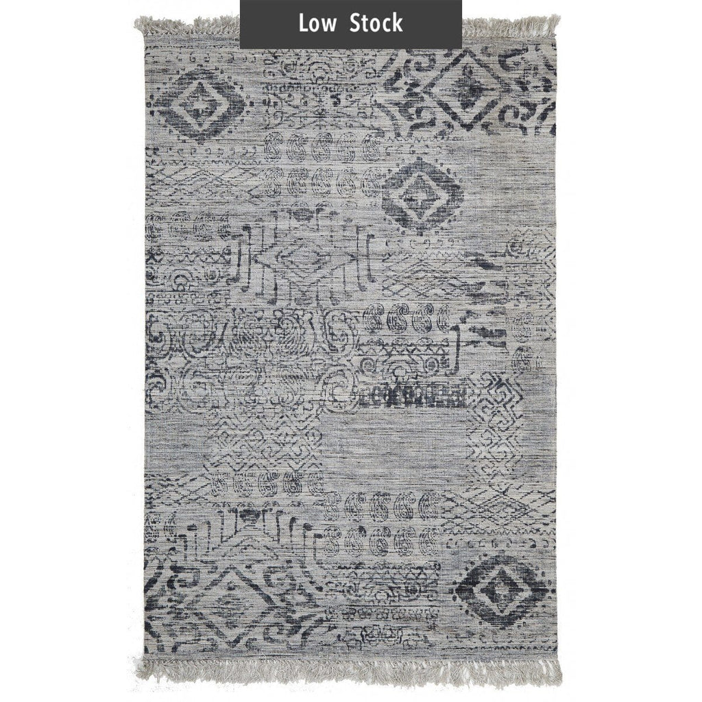 Posadas Blue Tribal Fringed Viscose Rug (Low Stock)