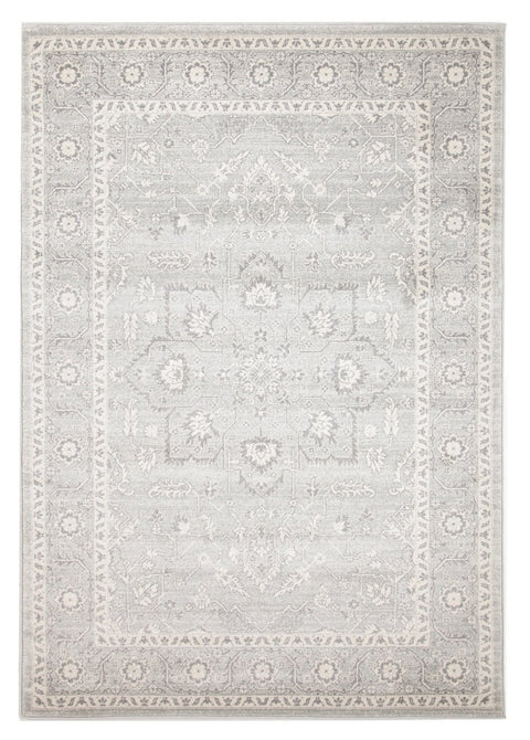 Biysk Grey & Ivory Floral Transitional Rug