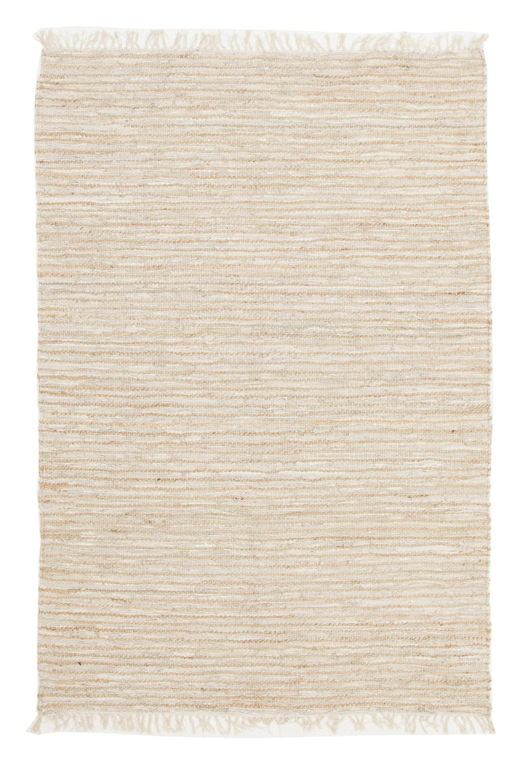 Lachen Natural Jute & White Leather Rug