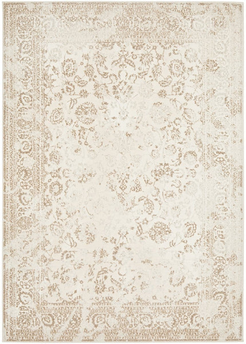 Calau Cream Traditional Bordered Floral Rug