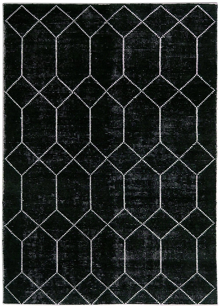 Capulo Hand Knotted Black and White Bamboo Wool Rug